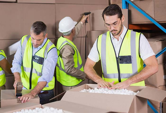 Point of sale distribution warehouse staff packing