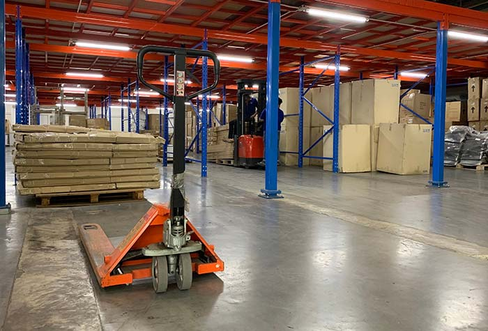 Pallet truck in our uk storage warehouse